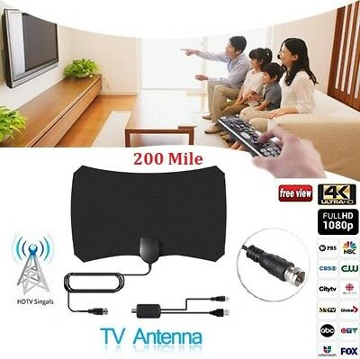 Thin Indoor TV Antenna Digital HDTV +Aerial Amplified 200 Mile Range Freeview UK