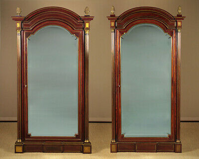 Pair of Brass Inlaid Mahogany Wardrobes c.1890.
