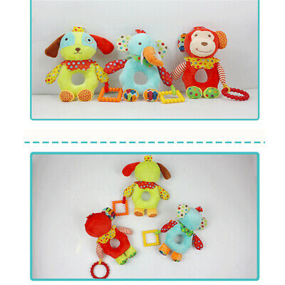 Infants Rattles Plush Doll Animals Shaped Soft Hand Bells Baby Teether Toys 6A