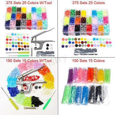375/150 Sets DIY Craft T5 Snap Buttons Starter Plastic Poppers Fasteners