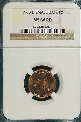 1960-D NGC MS66 RED SMALL DATE Lincoln Memorial Cent!! #A2584