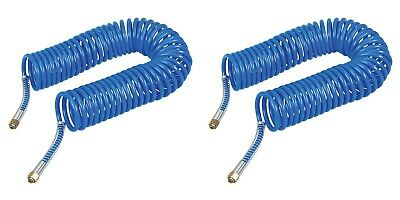 Pack of 2 Garage Workshop 10m Blue Coiled Hose for Air Tools & Fittings