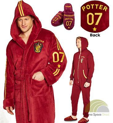 Harry Potter Quidditch Adult Bathrobe Dressing Gown or Jumpsuit or Slippers
