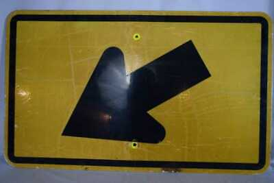 Genuine Road Sign Direction Arrow - black on reflective yellow