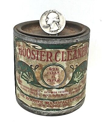 Antique Original HOOSIER CLEANER TIN Paper Label kitchen cabinet cupboard HMC