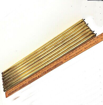 "Set of 7 Antique Brass Bed RODS 1""x31"" tubes vertical rails parts"