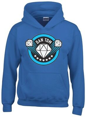 Dan TDM Diamond Kids Blue Hoodie Gaming Gamer Youtuber Fan Size L 9-11 SALE !!