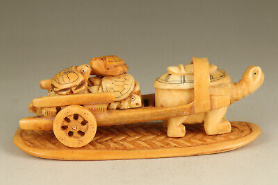 japanese old deer horn handwork turtle pull a cart statue netsuke collection