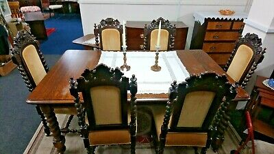 Barley twist legged extending dining table and six chairs - Victorian (1850's)