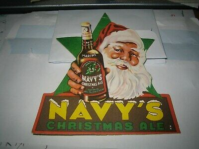 Santa Claus on Beer, 'Navy's Christmas Ale' 1940s Advertising  Bière Pub