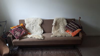 Brown Mid Century Danish Design Original 1960's 1970's Three seater Sofabed