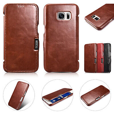 Luxury iCarer Genuine Real Leather Case Wallet Cover For Samsung Galaxy Phones