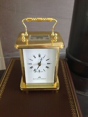 Matthew Norman Brass Carriage Clock Outstanding Condition with Original Case