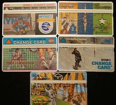 Vintage 1994 New York Telephone NYNEX $5.25 Phone Change Cards - Lot of 5