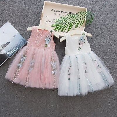 Toddler Baby Kid Girls Sleeveless Tulle Skirt Floral Party Princess Dress 6M-24M