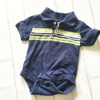 Baby GAP Boys Navy Blue Striped Polo Short Sleeve Shirt / Bodysuit Infant