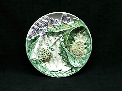 Antique Vintage French Majolica Asparagus Plate France Hand Painted Marked