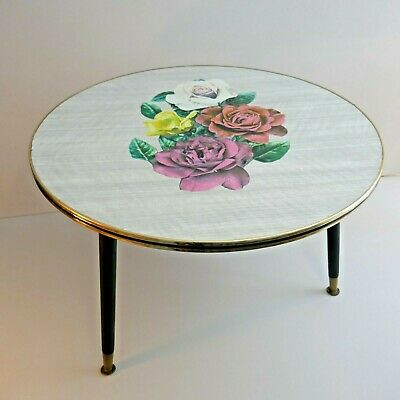 Vintage Retro 1950s 60s Circular floral Formica coffee table. Mid Century atomic