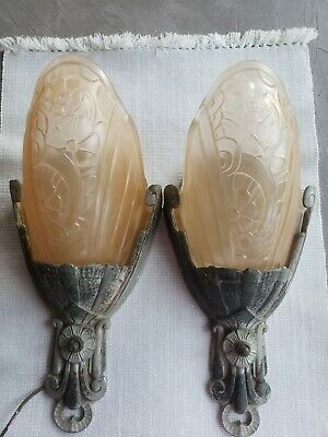 Art Deco Vintage Lincoln Glass Shade with Base Light Scones, Matching set of 2