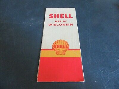 Vintage Road Map Wisconsin 1950 census Shell Gas Oil   Lot 19-40