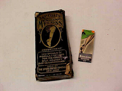 Lot Of Vintage Sewing Items - Mending Floss With Box And Hosiery Mending Kit