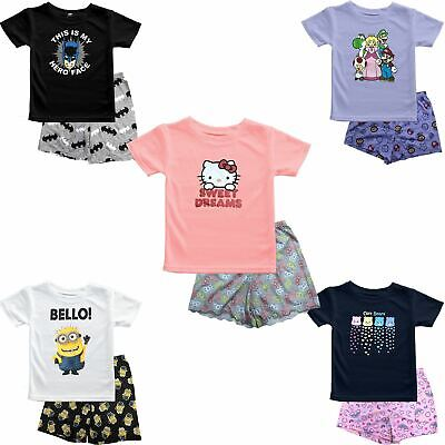 Girls Kids Ex-Store Hello Kitty Care Bear Minion Super Mario Pyjama Shirt Shorts