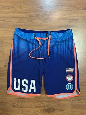 4c4b90be1d Hurley USA Olympic Team Board Shorts Men's Size Small 30 Surf Skate Blue  Phantom