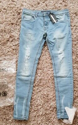 97c00c104db3 NEW Boohoo Man Brave Soul Skinny fit jeans with distressed knees UK Size 30L