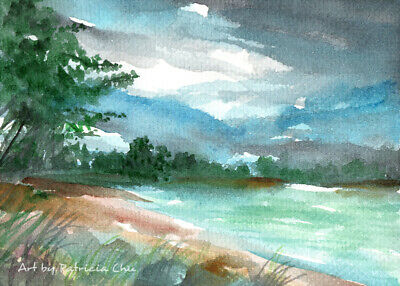 "ACEO LE Art Card Print 2.5""x3.5"" "" Storm Approaching "" Landscape Art by Patricia"