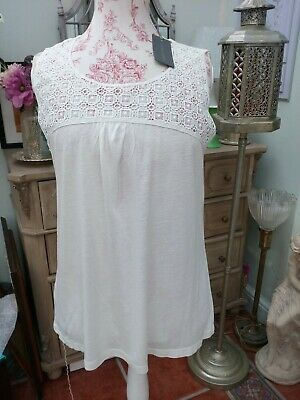BNWT Ladies Laura Ashley Ivory Cotton Lace Inset Tunic Top Sz 16-was £35