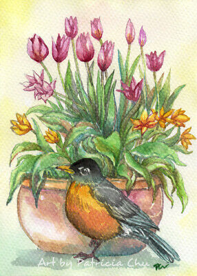 """ACEO LE Art Card Print 2.5x3.5"""" """" Robin And Tulips """" Bird Floral Art by Patricia"""