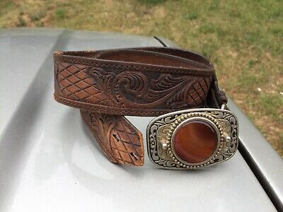Leather Western Belt Buckle, Vintage Ornate Belt Buckle,Tooled Leather Belt