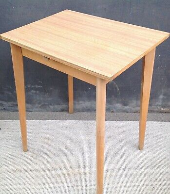 Small mid century Formica wood effect topped table with beech legs