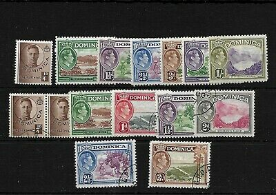 Dominica KGVI 1938 pictorials mint and used selection to 1/-  (8033)
