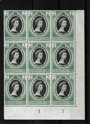 Dominica 1953 QEII Coronation in MNH plate block of 9 (8036)