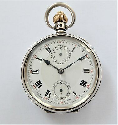 1936 Silver Cased Swiss Lever Chronograph Centre Second Pocket Watch Working