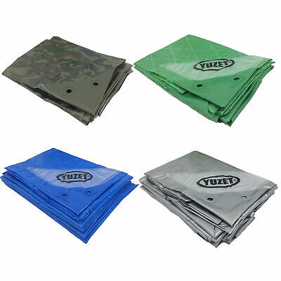 Reinforced Tarpaulin Heavy Duty Tarp Ground Sheet Camouflage Blue Green Silver