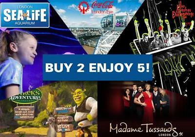 5 x Tickets London Top 5 Attractions Tussauds, Eye, Dungeon, SeaLife, Shrek -60%