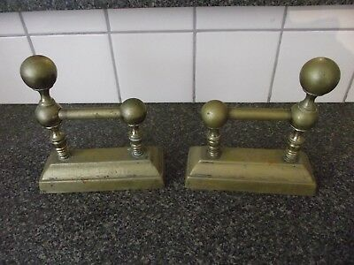 VINTAGE BRASS FIRE DOGS X2 DOG.To Support Fire Irons / Tools