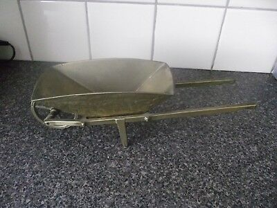 vintage solid brass wheel barrow 35cm  free post