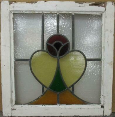 "OLD ENGLISH LEADED STAINED GLASS WINDOW Pretty Mackintosh Rose 19.25"" x 20"""