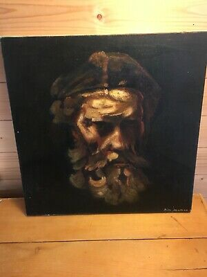 Old Master Oil Painting On Canvas Style Of Rembrandt Study Of Bearded Man