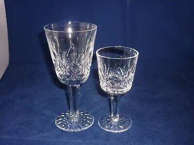 WATERFORD Crystal High Quality Two Glasses Wine Sherry LISMORE Pattern Excellent