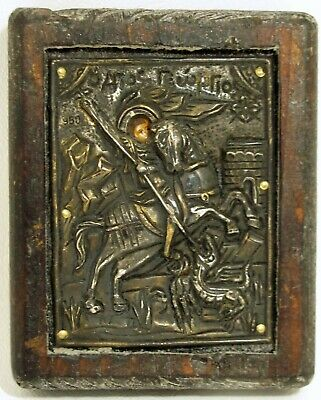 ST. GEORGE & The DRAGON ICON Byzantine Style 950 Repousse Silver Hand Painted