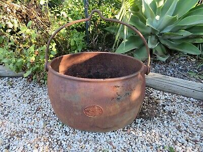 Antique Large Cast Iron 10 Gallon Pot Cauldron Garden Art Firewood Storage