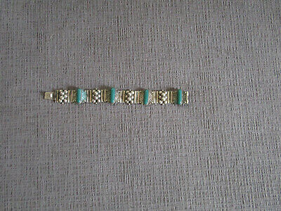 Vintage Mexican Alpaca Silver Panel Bracelet With Green Stones Nice