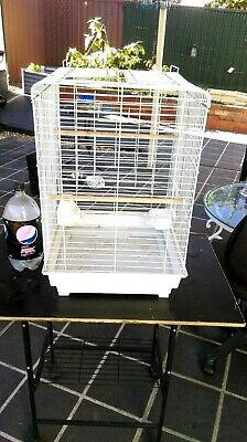 Open Top Bird Cage Parakeet Budgie Finch Canary Cockatiel Parrot Aviary+Perches