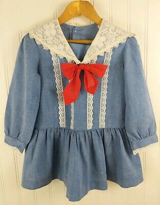 Vtg Toddler Dress 3T 4T Sailor Chambray Blue Lace Collar Madeline Red Bow EXC