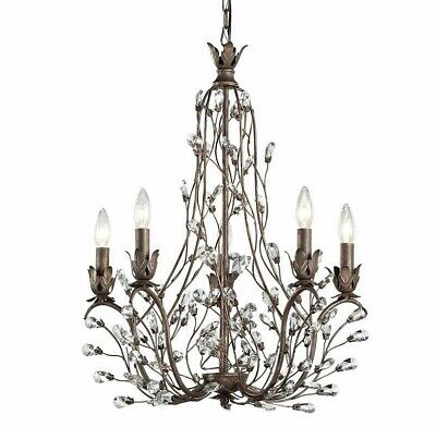 New Rustic Bronze Iron Crystal Chandelier 5-Light Vine Branch French Dining Room