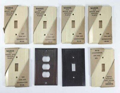 Vintage 6 New Ivory Wards Switch Plate Lot + 2 Brown Black Covers Bakelite?